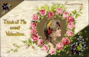 Präge Ak Valentinstag, Think of Me sweet Valentine, Blumenherz, Mädchenportrait