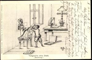 Künstler Ak Starkloff, H., Telegraphie ohne Draht, Berührung, Kinder, Telefon