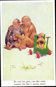 Künstler Ak Wood, Lawson, vermenschlichte Affen, Familie, Kinderwagen