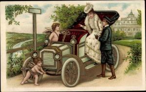 Litho Mann hilft Frau ins Auto, Amor, Liebespaar, Engel