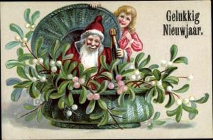 Ak Glückwunsch Neujahr, Weihnachtsmann, Sektflasche, Mistelzweige