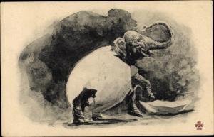 Künstler Ak Elefant in Eierschale