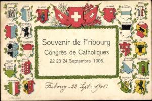 Präge Wappen Ak Fribourg Freiburg Stadt Schweiz, Congrès de Catholiques 1906, Kantonswappen