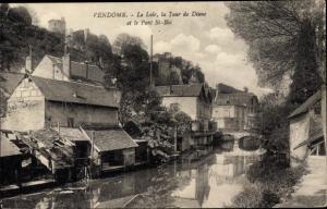 Ak Vendôme Loir et Cher, Le Loir, la Tour de Diane et le Pont St Bie