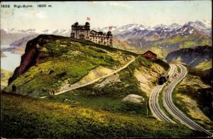 Ak Rigi Kulm Schwyz Schweiz, Ortspartie, Bergbahn