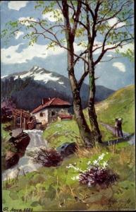 Künstler Ak Gebirgslandschaft mit Wassermühle