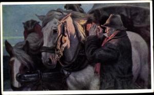 Künstler Ak Schindler, Osmar, Mann spannt Pferde an