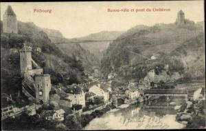 Ak Fribourg Freiburg Stadt Schweiz, Basse ville et pont du Gotteron