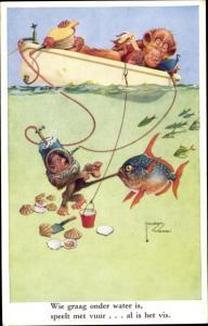 Künstler Ak Wood, Lawson, vermenschlichte Affen, Angler, Ruderboot, Taucher