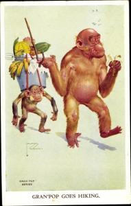 Künstler Ak Wood, Lawson, vermenschlichte Affen, Gran'pop goes hiking
