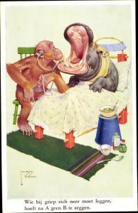 Künstler Ak Wood, Lawson, vermenschlichter Affe als Arzt, Nilpferd