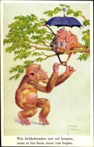 Künstler Ak Wood, Lawson, vermenschlichte Affen, Liebesbande