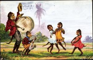 Künstler Ak Tanzende Schimpansen, Affen, Saxophon, vermenschlichte Tiere