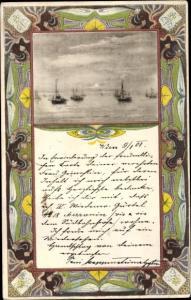 Jugendstil Ak Segelboote auf dem Wasser
