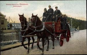 Ak Amsterdam Nordholland Niederlande, Brandweer, Koolzuurspuit, Feuerwehr