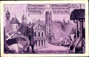 Künstler Ak Fribourg Freiburg Stadt Schweiz, Schweiz. Katholikentag, Congrès 1906, Les Sanctuaires