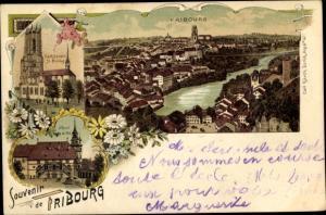 Litho Fribourg Freiburg Stadt Schweiz, Cathedrale St. Nicolas, Hotel de Ville
