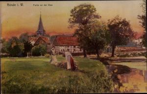 Künstler Ak Bünde in Westfalen, Partie an der Else