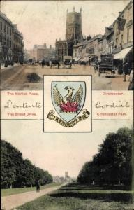 Wappen Ak Cirencester Gloucestershire England, The Market Place, The Broad Drive, Park