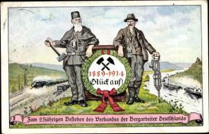 Künstler Ak 25 jähriges Bestehen des Verbandes der Bergarbeiter Deutschlands 1914