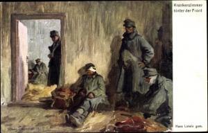 Künstler Ak Larwin, Hans, Krankenzimmer hinter der Front, Deutsche Soldaten im I. WK