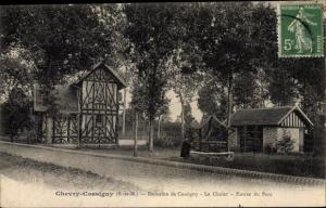 Ak Chevry Cossigny Seine et Marne, Chalet, Entree du Parc