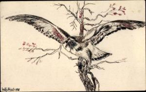Künstler Ak Hirsch, Willy, Eule mit gespreizten Flügeln