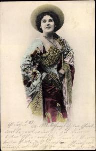 Ak Dame in Kleid, Portrait, Hut