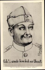 Künstler Ak Gautschi, R., Schweizer Soldat in Uniform