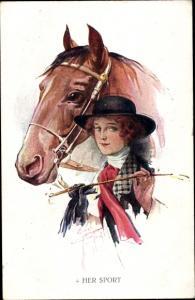 Künstler Ak Her Sport, Pferd, Dame in Dressureiter Anzug, Reitgerte