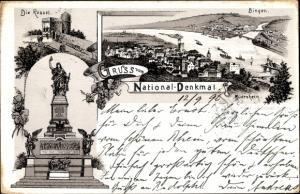 Litho Rüdesheim am Rhein, National Denkmal, Die Rossel, Bingen