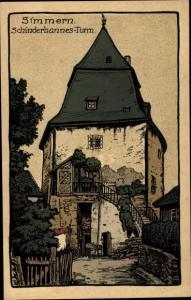 Steindruck Ak Simmern Hunsrück, Schinderhannes Turm