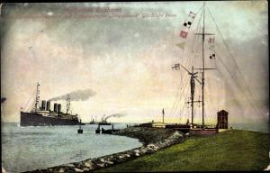 Ak Cuxhaven in Niedersachsen, Signalstation, Schnelldampfer Deutschland
