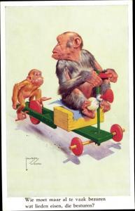 Künstler Ak Wood, Lawson, vermenschlichte Affen auf Kinderfahrzeug