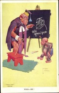 Künstler Ak Wood, Lawson, vermenschlichte Affen, Who, Me