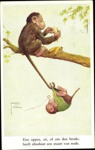 Künstler Ak Wood, Lawson, vermenschlichte Affen, Vater mit Affenkind