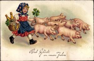 Ak Glückwunsch Neujahr, Mädchen, Kleeblätter, Schweine, Hufeisen, Sekt, EAS 1481