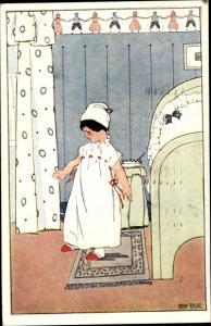 Künstler Ak Tekauz, Anny, Mädchen im Nachthemd, Bett