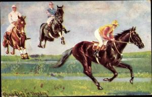 Künstler Ak Donadini, Antonio Ermenegildo, Jockeys bei einem Pferderennen