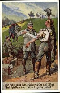 Künstler Ak Sie swchuren dem Kaiser Sieg und Blut, Verwundete Deutsche Soldaten im Feld, Sanitäter