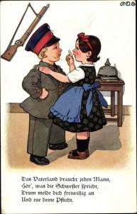 Künstler Ak Engelhard, P. O. E., Das Vaterland braucht jeden Mann, Soldat mit Frau in der Stube