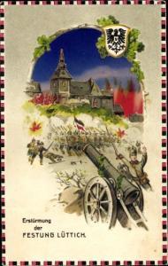 Haltgegendaslicht Passepartout Ak Liège Lüttich Wallonien, Erstürmung der Festung Lüttich, Geschütz