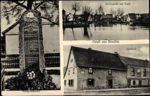 Ak Beuditz Kabelsketal Saalekreis, Gasthof, Dorfansicht, Teich, Kriegerdenkmal