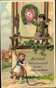 Litho Glückwunsch Neujahr, Junge, Mädchen, Hufeisen, Kleeblätter