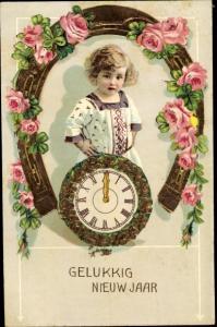 Litho Glückwunsch Neujahr, Mädchen, Uhr, Hufeisen, Rosen