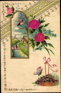 Stoff Präge Litho Schmetterling, Veilchen, Rosen, Landschaft, Kirche