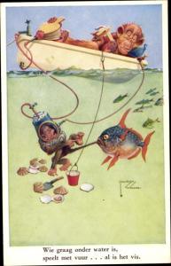Künstler Ak Wood, Lawson, Affen beim Angeln, Fisch, Taucher, Muscheln