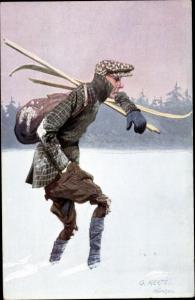 Künstler Ak Merté, Oskar, Mann mit Skiern stapft durch den Schnee
