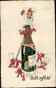 Ak Glückwunsch Neujahr, Zwerge, entkorken Sektflasche