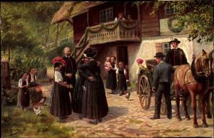 Künstler Ak Hoffmann, H., Abschied vom Elternhaus, schwarzwälder Volkstrachten